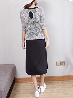 Grey and Black Knitted Knee Length Dress for Casual