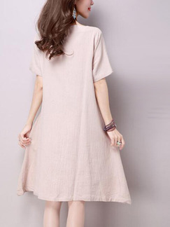 Beige and Blue Shift Knee Length Plus Size Dress for Casual Party