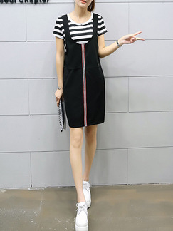 Black and White Stripe Shift Above Knee Plus Size Dress for Casual Office Party