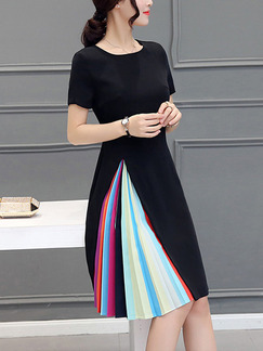 Black Colorful Shift Knee Length Plus Size Dress for Casual Office Evening