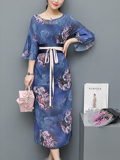 Blue Colorful Midi Floral Plus Size Dress for Casual
