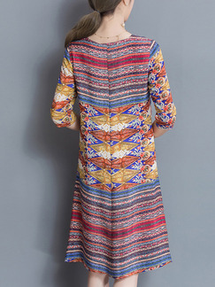 Colorful Shift Knee Length Plus Size V Neck Dress for Casual Office Evening Party