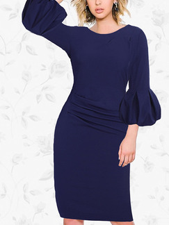 Blue Bodycon Knee Length Plus Size Dress for Casual Party Nightclub