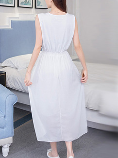 White Colorful Midi Plus Size Dress for Casual