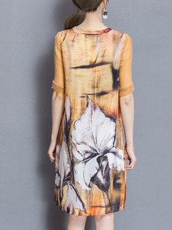 Apricot Colorful Shift Knee Length Plus Size V Neck Dress for Casual Party Evening