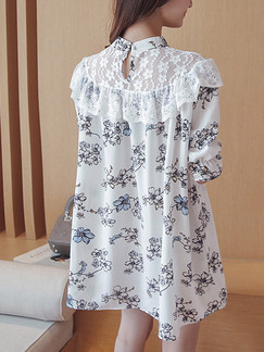 White Shift Above Knee Floral Lace Dress for Casual Party