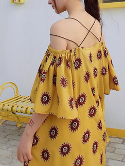 Yellow Off Shoulder Shift Knee Length Slip Dress for Casual Party