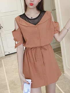 Orange Fit & Flare Above Knee Plus Size Dress for Casual Office