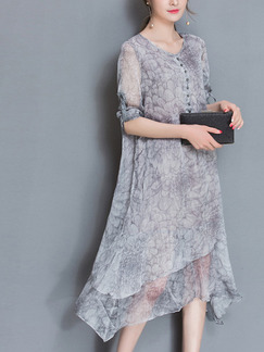 Grey Shift Knee Length Plus Size Dress for Casual Beach