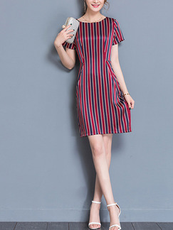 Red Black and White Sheath Above Plus Size Dress for Casual Office Evening