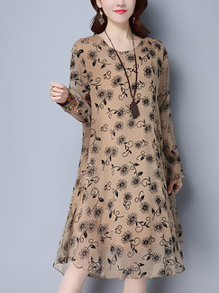 Brown Shift Knee Length Plus Size Long Sleeve Dress for Casual Office Party Evening