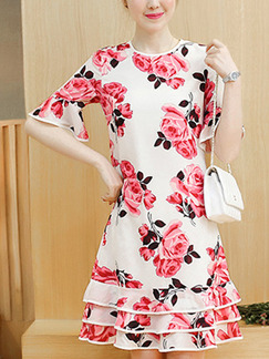 White and Pink Cute Shift Above Knee Plus Size Floral Dress for Casual Office Evening