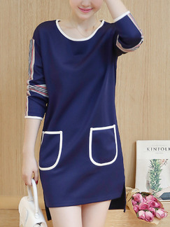 Blue Shift Above Knee Plus Size Long Sleeve Dress for Casual Office Evening Party