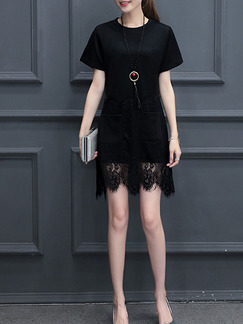 Black Sheath Above Knee Plus Size Lace Dress for Casual Office Evening