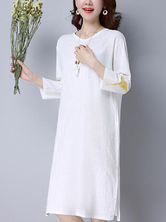 White Shift Knee Length Plus Size Long Sleeve Dress for Casual