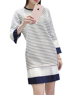 Blue and White Shift Above Knee Plus Size Long Sleeve Dress for Casual Office Party Evening