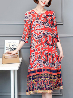 Red Colorful Shift Knee Length Plus Size Dress for Casual Office Evening