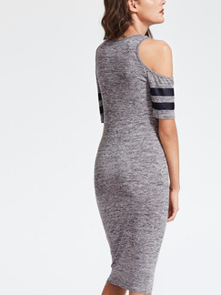 Grey Bodycon Midi Plus Size Dress for Casual Party