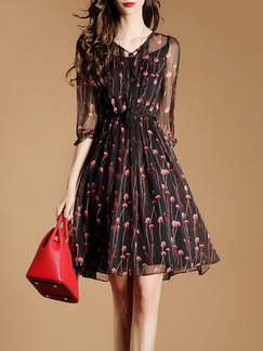 Black Pink Fit & Flare Above Knee Plus Size Floral V Neck Dress for Casual Office Evening Party