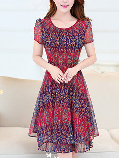 Red Colorful Fit & Flare Above Knee Plus Size Dress for Casual Office Party Evening