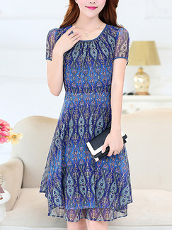 Blue Colorful Fit & Flare Above Knee Plus Size Dress for Casual Office Party Evening
