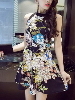 Black Colorful Fit & Flare Above Knee Plus Size Floral Halter Dress for Casual Party Evening Nightclub