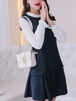 Blue and White Shift Above Knee Plus Size Long Sleeve Dress for Casual  Office e32a15b48