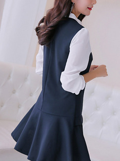 Blue and White Shift Above Knee Plus Size Long Sleeve Dress for Casual Office