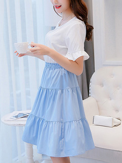 Blue and White Fit & Flare Knee Length Plus Size Dress for Casual Party Office Evening