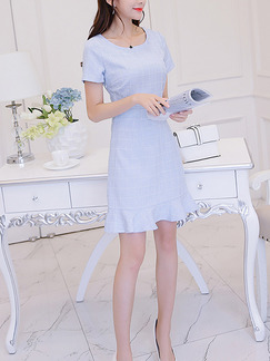 Blue Sheath Above Knee Plus Size Dress for Casual Office Evening Party