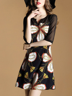 Black Colorful Shift Above Knee Plus Size Dress for Casual Office Party Evening