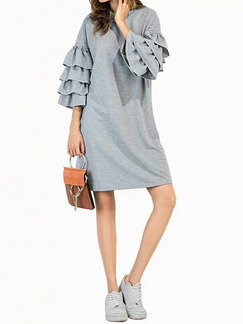 Grey Shift Above Knee Plus Size Dress for Casual Office Party Evening