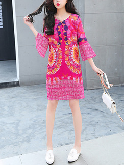 Pink Colorful Shift Above Knee Cute Dress for Casual Beach Party