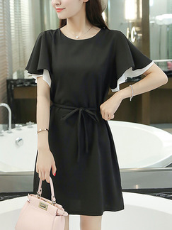 Black Shift Above Knee Dress for Casual Office Party Evening