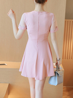 Pink Cute Fit & Flare Above Knee Plus Size Dress for Casual Party Evening