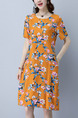 Orange Colorful Shift Knee Length Plus Size Floral Dress for Casual Party