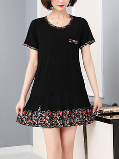 Black Shift Above Knee Plus Size Dress for Casual Party Evening