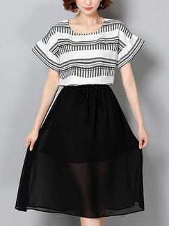 Black and White Knee Length Plus Size Dress for Casual Office Party