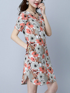 Grey Colorful Shift Above Knee Plus Size Floral Dress for Casual Party