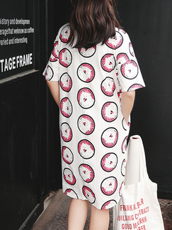 White and Red Shift Knee Length T-Shirt Dress for Casual