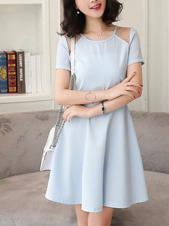Blue Fit & Flare Above Knee Plus Size Dress for Casual Office Evening