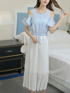 Blue and White Midi Plus Size Dress for Casual Party Beach