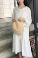 White Shift Knee Length Long Sleeve Dress for Casual Party