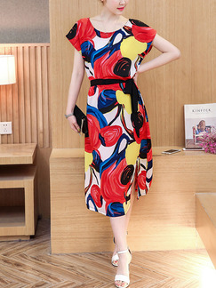Red Colorful Midi Plus Size Dress for Casual Office Party Evening