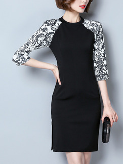 Black and White Sheath Above Knee Plus Size Dress for Casual Office Evening