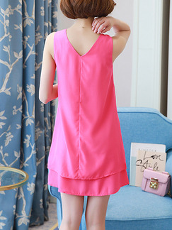 Pink Cute Shift Above Knee Plus Size Dress for Casual Party Evening