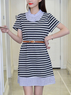Black and White Stripe Shift Above Knee Plus Size Dress for Casual Party
