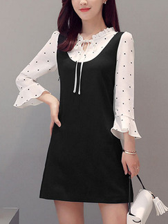 Black and White Shift Above Knee Dress for Casual Office Evening Party