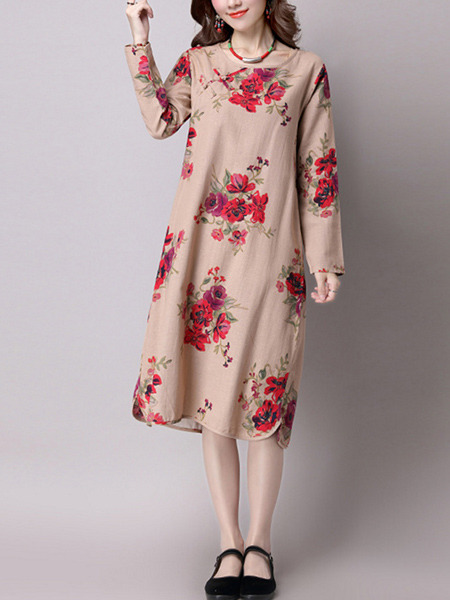 Brown and Red Shift Knee Length Plus Size Floral Long Sleeve Dress for Casual Party