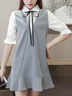 Grey and White Shift Above Knee Plus Size Shirt Dress for Casual Office Evening